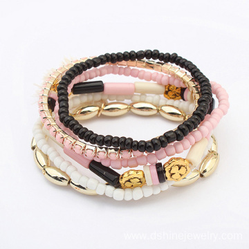 China for Diy Tassel Bracelet Multi Layers Tassel Beaded Bracelets Acrylic Rhinestone Band export to Guadeloupe Factory
